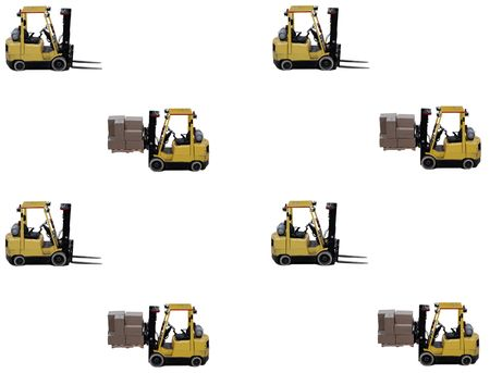 empty warehouse: forklift with full load and empty forklift showing concept of busy warehouse