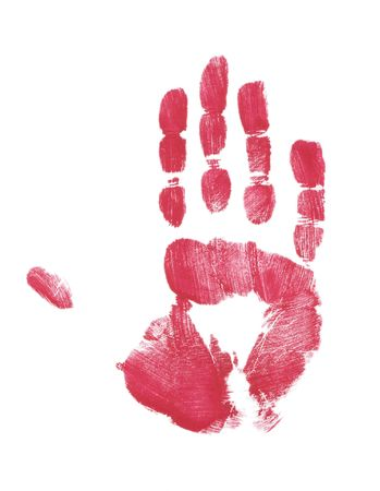 hand print: red painted hand print on white background Stock Photo