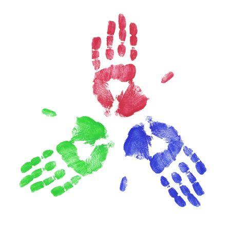 identidad cultural: rojo azul y verde pintada mano dedo de la mano de impresi�n