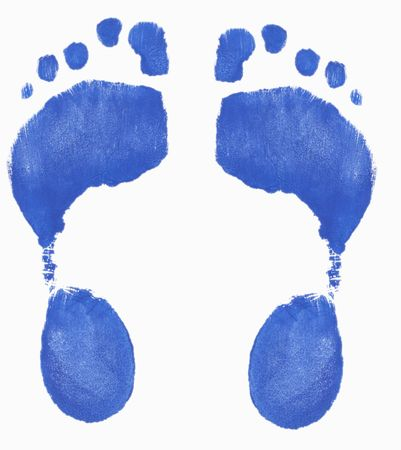 dirty feet: two painted footprints isolated on white background