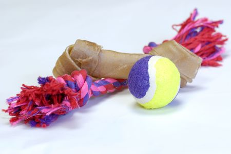 bait ball: dog toys - rawhide, ball and tug toy