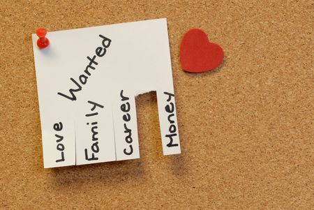affix: note with love, , career, money, attached to the corkboard with red pushpinrr
