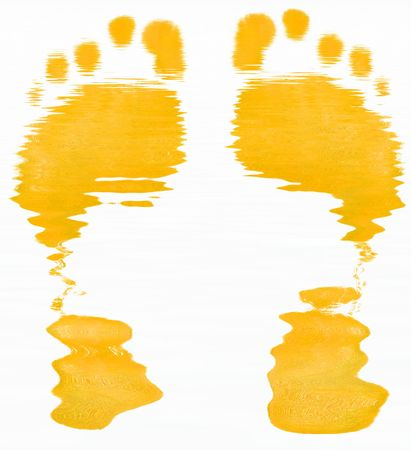 podiatrist: yellow abstract of two foot prints on white background