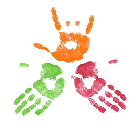 non verbal: multi colored finger painted hands with one making sign