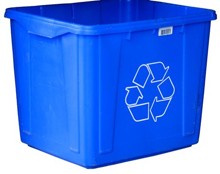 segregate: blue recycle bin isolated on white background