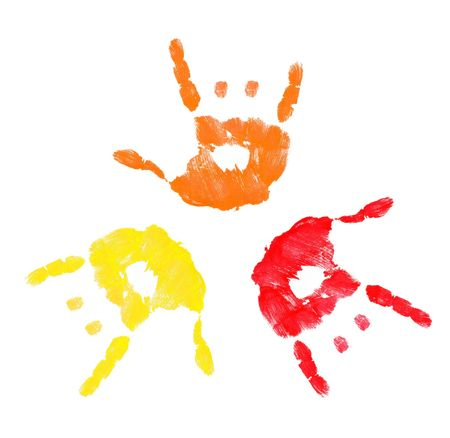 non verbal: three colorful hands making a rock on sign