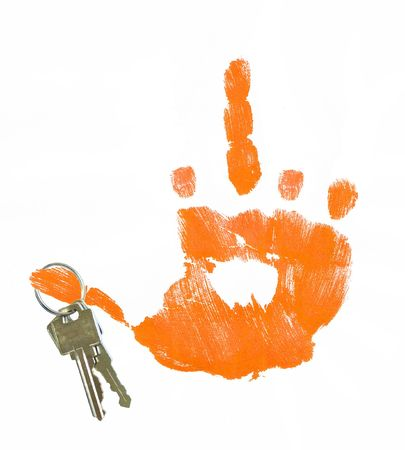 hand giving flip sign with keys hanging from thumb - concept of foreclosure Stock Photo - 2410264