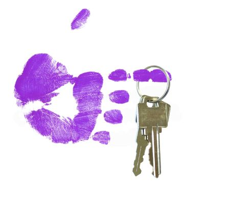 hand print: finger painted hand holding out set of keys