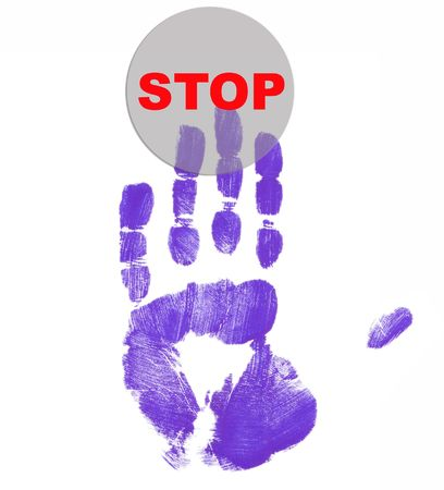 stop button pushed with finger painted hand Stock Photo - 2421151