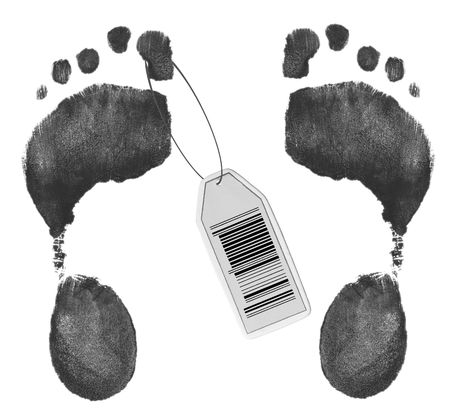 toe tag: toe tag with barcode on foot prints