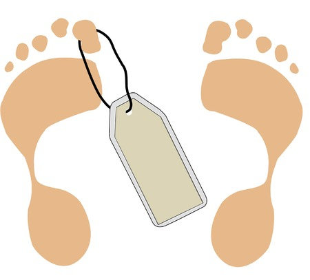 toe tag hanging from two foot prints -vector Stock Vector - 2435653
