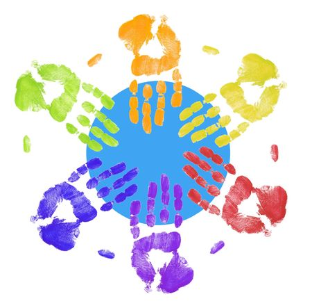brotherhood: multi colored hands touching globe together