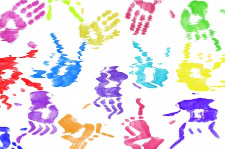 hand print: colorful hand print background on white