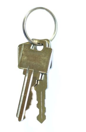 key ring with two keys isolated on white photo