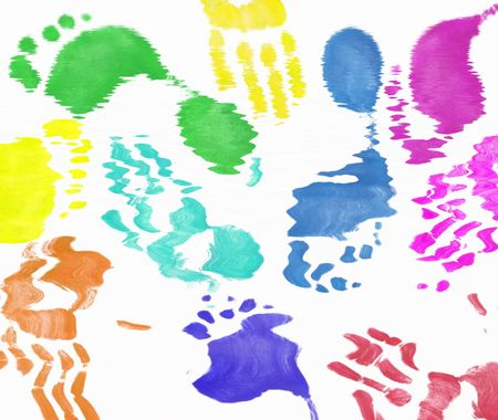multi colored expressive hand and foot prints background   photo