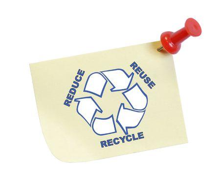 reduce reutiliza recicla: pulgar con tachuelas nota con reducir la reutilizaci�n de reciclaje