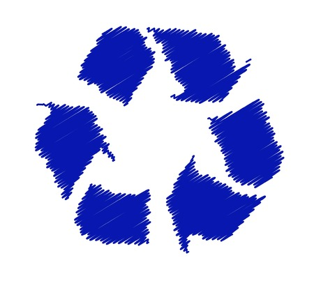 recycling: blue recycling symbol or logo on white background - vector