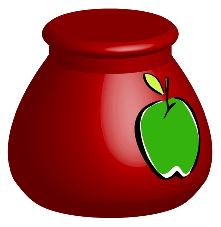 sweetened: 3D red cookie jar with green apple - vector