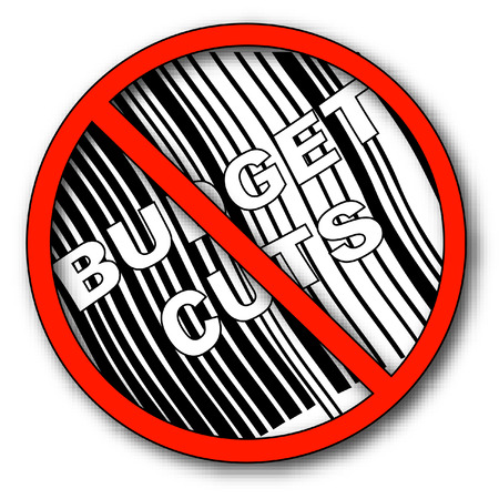 no more budget cuts with barcode - vector Stock Vector - 2501131