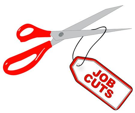 scissors cutting tag that says - job cuts - vector Vector