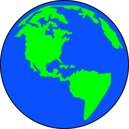 oceania: blue and green simplistic version of the globe - vector