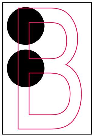 braille: braille aphabet letter b - vector Illustration