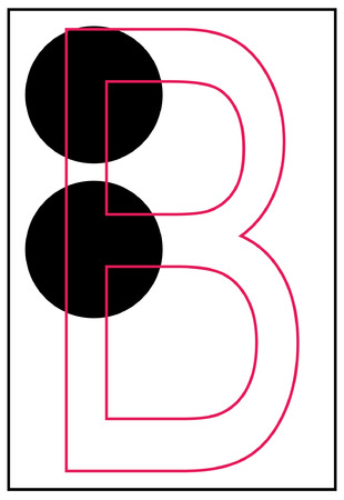 braille aphabet letter b - vector Illustration