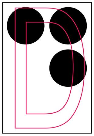 braille: braille alphabet letter d - vector Illustration