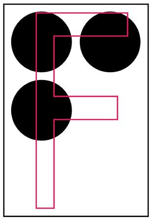 braille: alfabeto braille letra f - vector