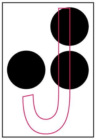 braille: braille alphabet letter j - vector