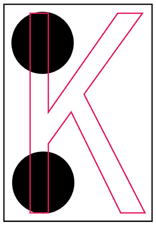 braille: alphabet letter k in braille - vector