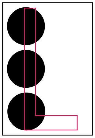 braille: alphabet letter l in braille - vector Illustration