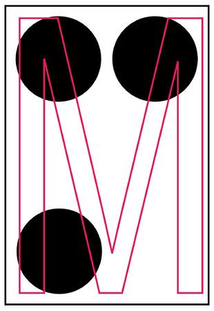 alphabet letter m in braille - vector Vector