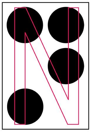 braille: alphabet letter n in braille - vector