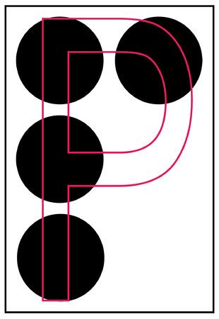 braille: alphabet letter p in braille - vector