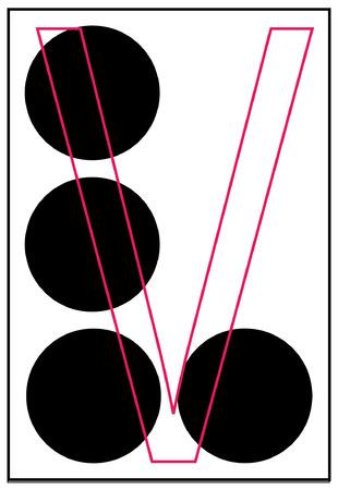 alphabet letter v in braille - vector Vector