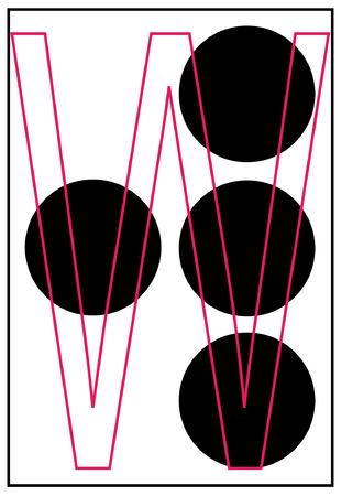 alphabet letter w in braille - vector Vector