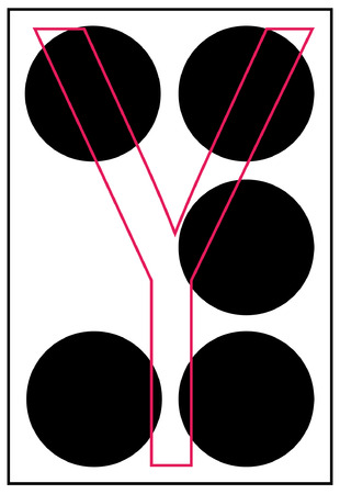 braille: alphabet letter y in braille - vector