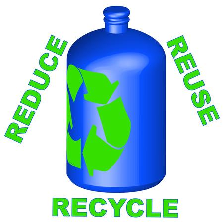 reduce reutiliza recicla: reciclado de contenedores con reducir la reutilizaci�n de reciclaje - vector  Vectores