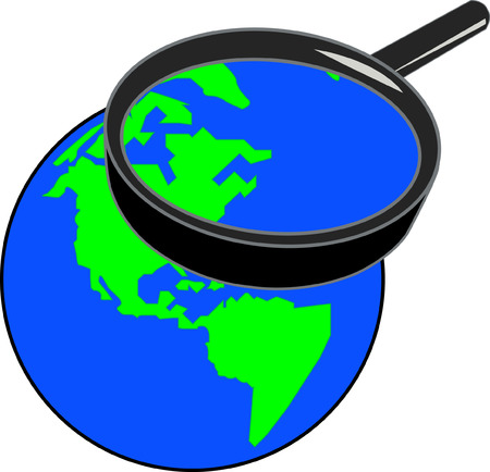 magnifying glass enlarging part of the globe - vector Vector