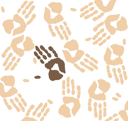 minority: hand print background showing visible minority - vector Illustration