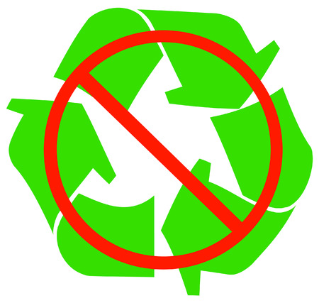 environmental awareness: no recycling available or allowed - vector Illustration