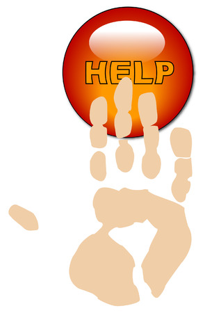 help button: hand print pushing a help button - vector Illustration