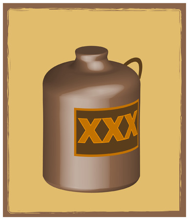 liquor: 3D whiskey jug or liquor bottle - vector