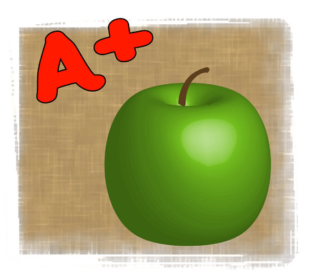 3D apple with A+ - making the grade in school - vector Vector