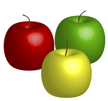 green yellow and red 3d apples - vector Stock Vector - 2516371