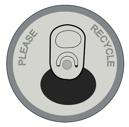 aluminum can: open pop or soda can with please recycle on lid - vector