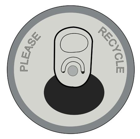 lata: pop abierto o lata de refresco con por favor recicle en la tapa - vector Vectores