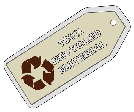 tag with words - 100% recycle material - vector Vector