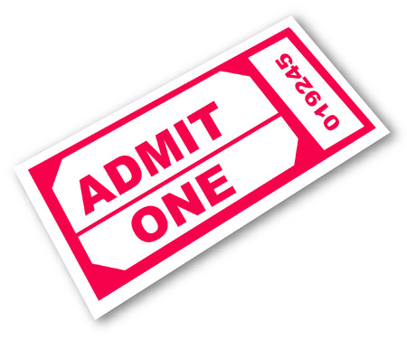admission: admission ticket with the words - admit one - vector